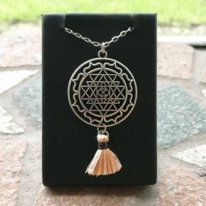 Mandala third eye chakra tassel boho necklace